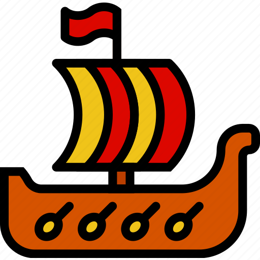 antique, medieval, old, ship, viking icon