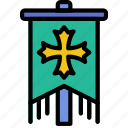 antique, battle, medieval, old, standard icon