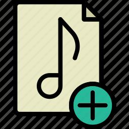 add, audio, file, music, play, sound icon