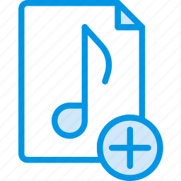 add, audio, file, music, play, sound icon