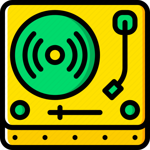 music, truntable, yellow icon