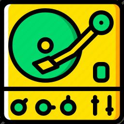 music, turntable, yellow icon