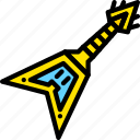 electric, guitar, yellow icon