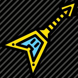 electric, guitar, yellow icon