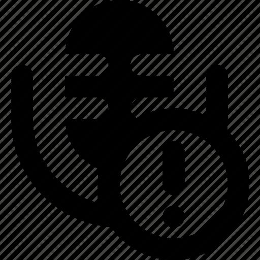 communication, media, microphone, news, warning icon