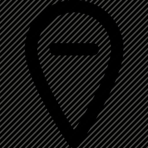 location, map, navigation, pin, substract icon