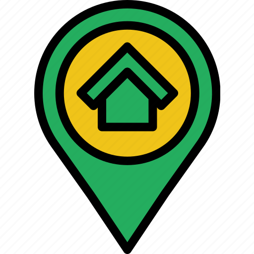 building, estate, house, location, property, real icon