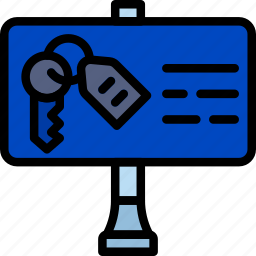 building, estate, house, key, property, real, sign icon