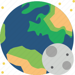 asteroid, earth, eclipse, life, moon, space, with icon