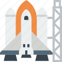 exploration, launch, nasa, pad, rocket, shuttle, spaceship icon