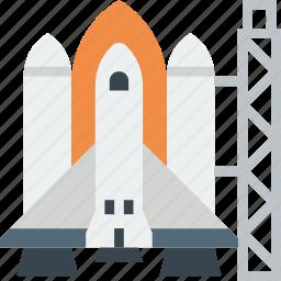 exploration, launch, nasa, pad, rocket, shuttle, spaceship icon