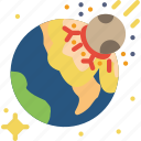 asteroid, disaster, doomsday, earth, impact, planet, space icon