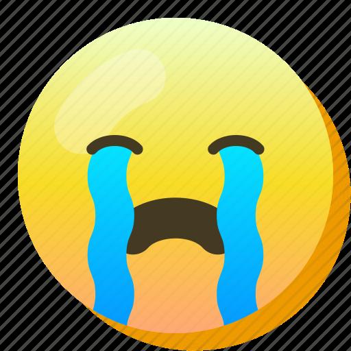 cry, emoji, emoticon, smile, smiley, sob, tears icon