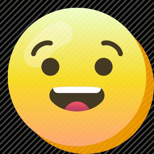 Emoji, emoticon, happy, smile, smiley, surprised icon