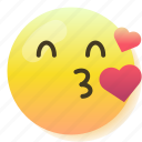 emoji, flirt, heart, kiss, love, smile, smiley icon
