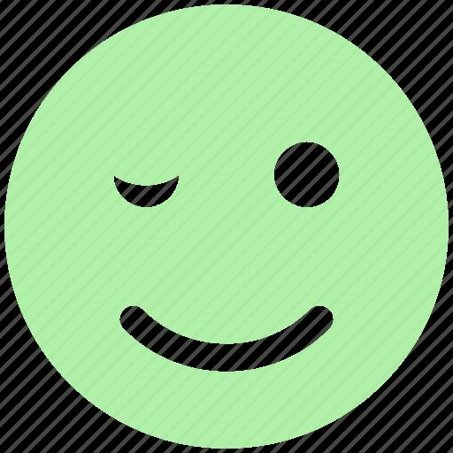 avatar, blink, emoji, emoticon, face, smiley, wink icon