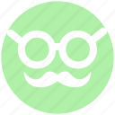 emoji, emotions, face, glasses, man, old, smiley icon