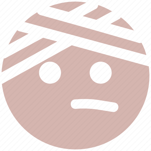emoji, emoticons, expression, face, head beat, monochrome, pain, smiley icon