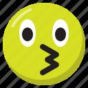 emoji, emoticon, expression, kiss, smiley icon