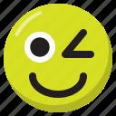 emoji, emoticon, expression, smiley, wink icon