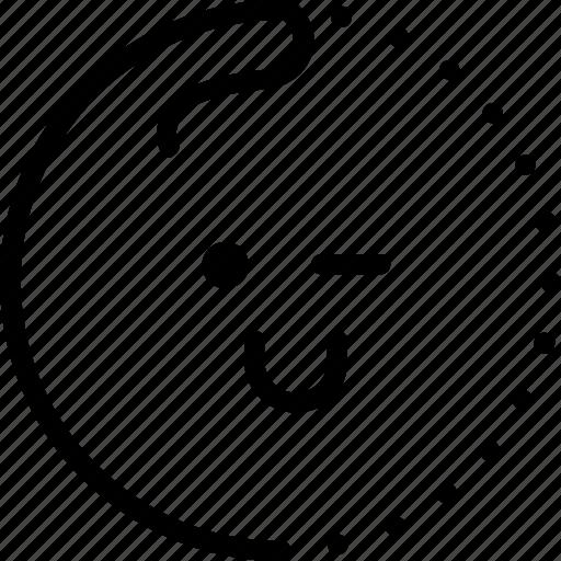 cute, emoji, face, lineart, smiley, sticker, wink icon
