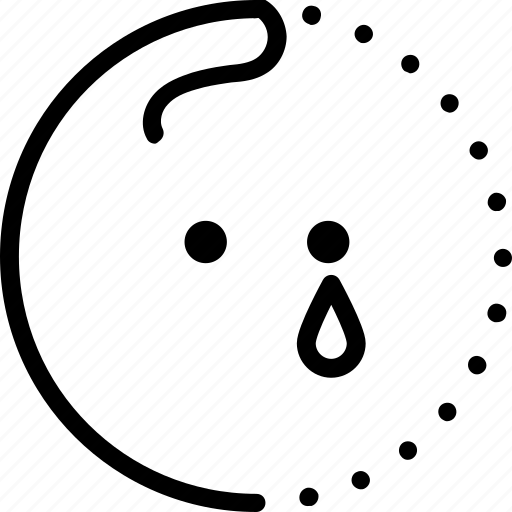 crying, emoji, lineart, sad, smiley, sticker, tear icon