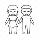 boy and girl, boy and girl holding hands, couple, holding hands, man and woman, relationship icon