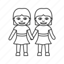 girlfriends, girls, relationship, same sex, women, women holding hands icon