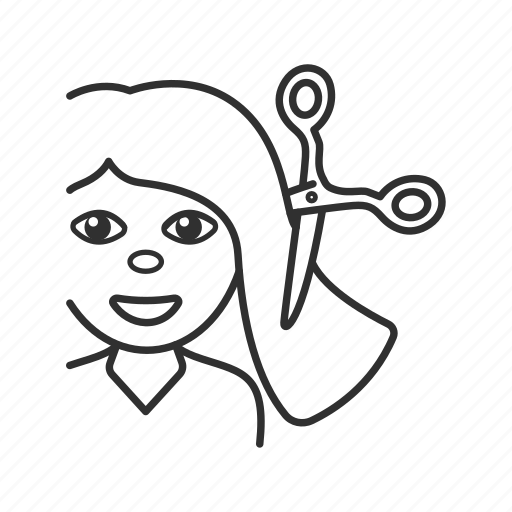 cutting hair, girl, girl cutting hair, hairdressing, salon, scissors, woman icon