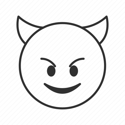 cute devil, devil, devil face, evil, horns, imp, smiling devil icon