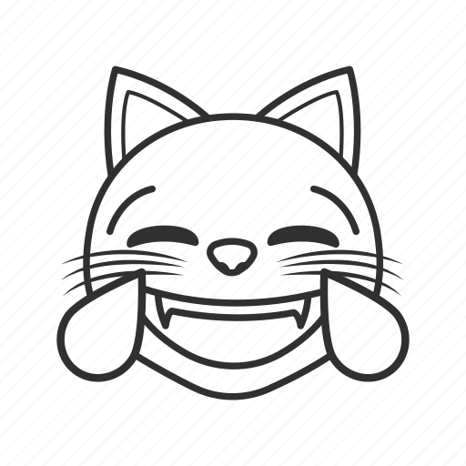 cat, cat face, joy, joyful cat, tears, tears of joy, teary cat icon