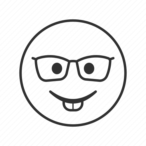 emoji, eyeglasses, face with eyeglasses, genius, intellectual, nerd, nerd face icon