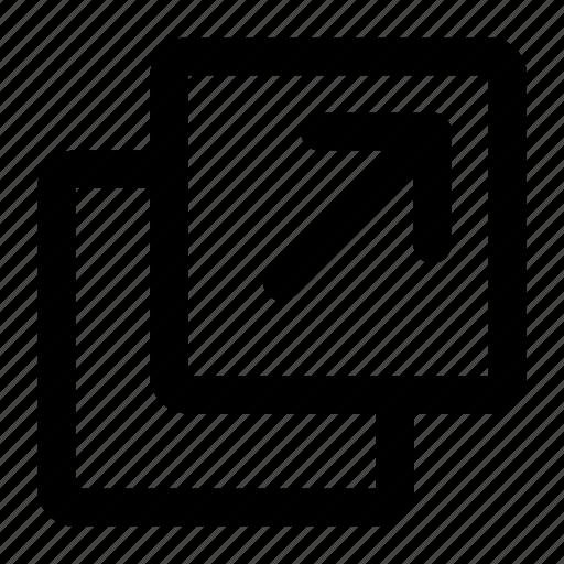 action, arrow, new, open, tab, window icon