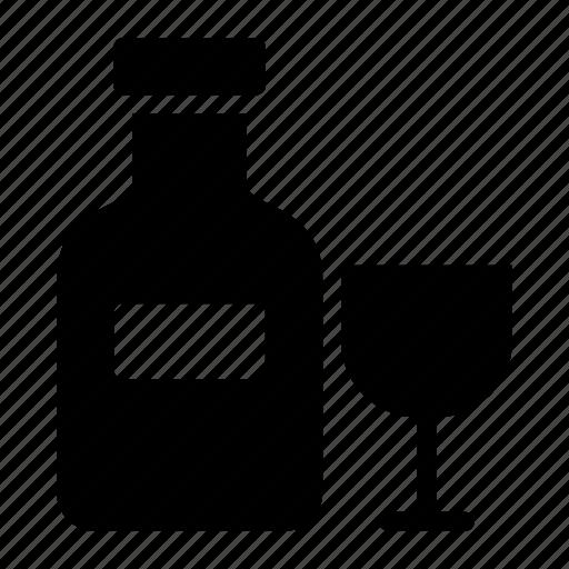 alcohol, bottle, drink, glass, liquor, wine icon