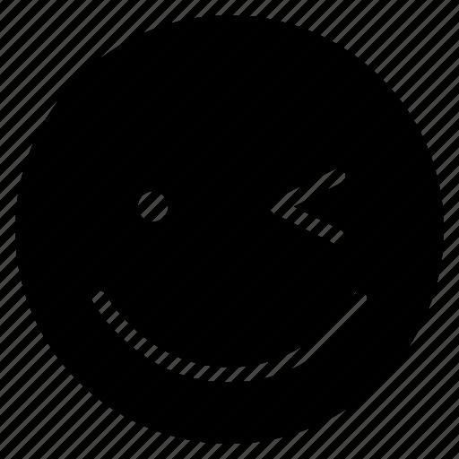 avatar, emoticon, emotion, face, happy, smile, wink icon