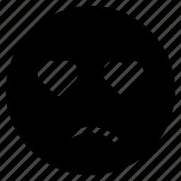 avatar, emoticon, emotion, expression, face, love, sad icon