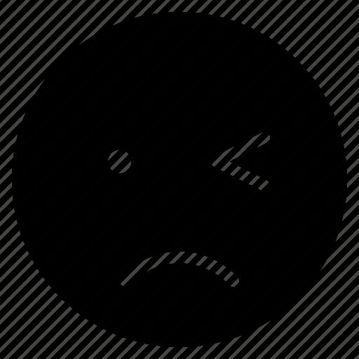 avatar, emoticon, emotion, expression, face, sad, wink icon