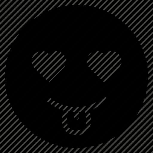 avatar, emoticon, emotion, face, love, smile, tongue icon