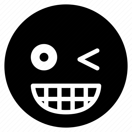 avatar, emoticon, emotion, face, grin, smile, wink icon