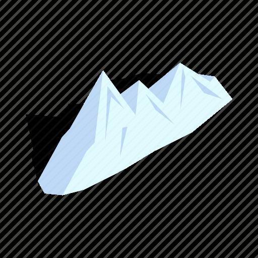 isometric, mountain, ski, sky, snow, snowboarding, winter icon