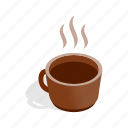 breakfast, brown, cafe, coffee, cup, isometric, mug