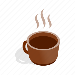 breakfast, brown, cafe, coffee, cup, isometric, mug icon