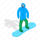 isometric, ski, snow, snowboard, snowboarding, sport, winter icon