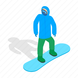 isometric, ski, snow, snowboard, snowboarding, sport, winter icon