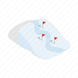isometric, mountain, path, route, snow, track, winter icon