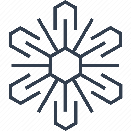 christmas, flake, geometric, hexagon, holiday, line, snow, snowflake, style, winter icon