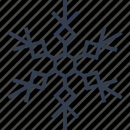 christmas, flake, geometric, hexagon, holiday, line, snow, snowflake, winter icon