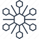 christmas, flake, geometric, hexagon, holiday, line, snow, snowflake, winter icon