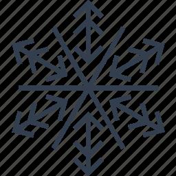 arrow, christmas, flake, geometric, holiday, line, snow, snowflake, winter icon
