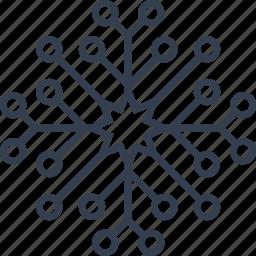 christmas, circles, flake, flower, geometric, holiday, line, snow, snowflake, winter icon